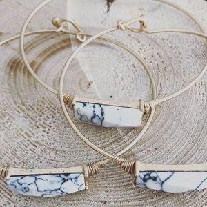 Minimalist White Marble Rectangle Stone Bracelet